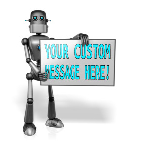 ID# 13672 - Retro Robot Custom Sign Right - Presentation Clipart