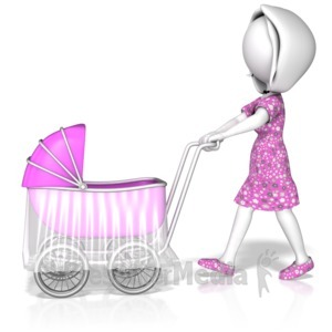 ID# 13782 - Woman Pushing Stroller - Presentation Clipart