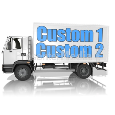 Custom Text Delivery Truck PowerPoint Clip Art