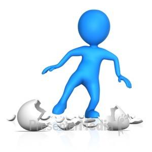 ID# 13822 - Figure Walking On Egg Shells - Presentation Clipart