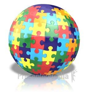 ID# 13832 - Colored Puzzle Globe - Presentation Clipart