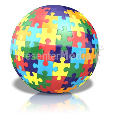 Colored Puzzle Globe PowerPoint Clip Art