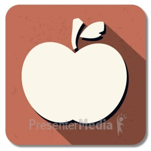 ID# 13852 - Teacher Apple Square Icon - Presentation Clipart