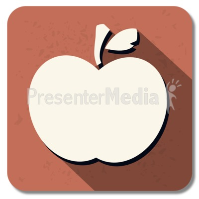 Teacher Apple Square Icon PowerPoint Clip Art