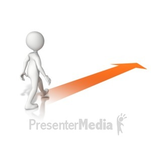 ID# 13880 - Walking With Arrow - Presentation Clipart
