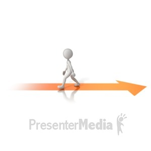 ID# 13881 - Walking Opposite Arrow - Presentation Clipart