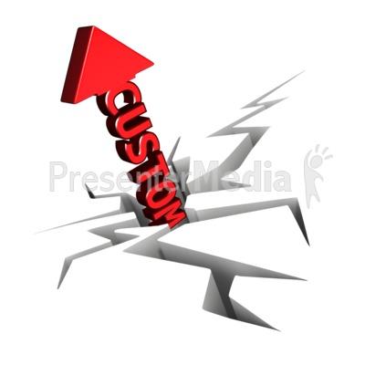Custom Text Arrow With Crack PowerPoint Clip Art
