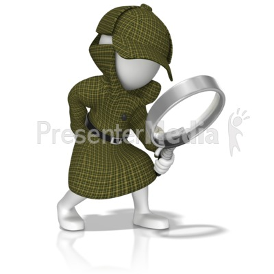 Detective With Magnifying Glass PowerPoint Clip Art
