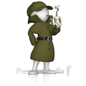 ID# 13947 - Detective Thinking With Pipe - Presentation Clipart