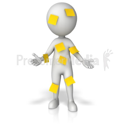 Figure Covered In Blank Notes PowerPoint Clip Art