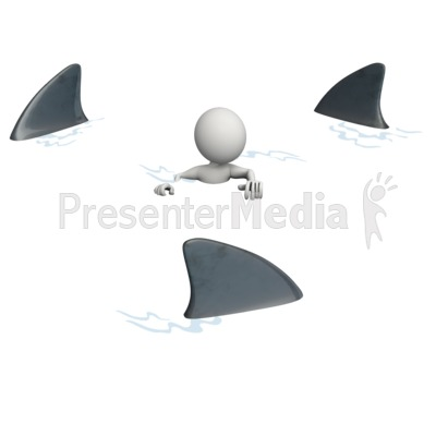 Figure Surrounded By Sharks PowerPoint Clip Art