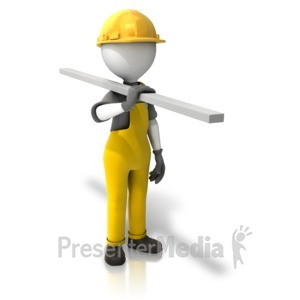 ID# 14030 - Construction Figure Carrying Wood - Presentation Clipart