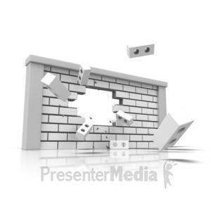 ID# 14035 - Brick Wall Broken - Presentation Clipart