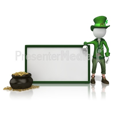 Leprechan With Sign PowerPoint Clip Art