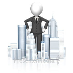 ID# 14038 - Business Man In City - Presentation Clipart