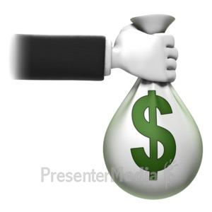 ID# 14048 - Holding Money Bag - Presentation Clipart