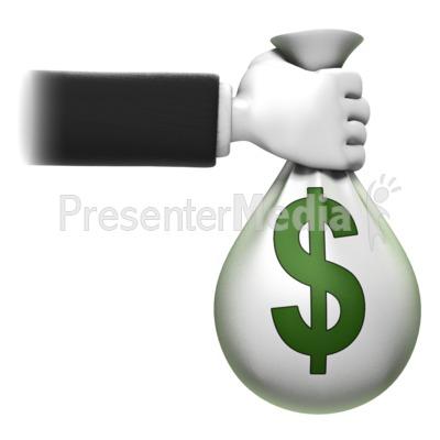 Holding Money Bag PowerPoint Clip Art