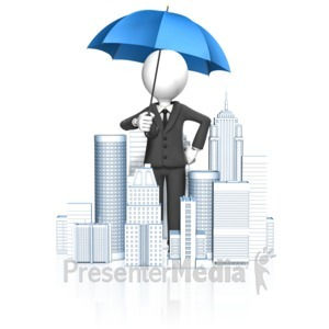 ID# 14049 - Business Man City Umbrella - Presentation Clipart