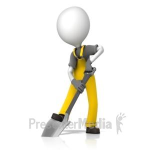 ID# 14056 - Construction Figure Shoveling - Presentation Clipart