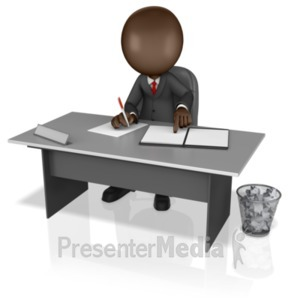 ID# 14082 - Business Figure Working At Desk - Presentation Clipart