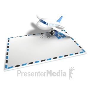 ID# 14090 - Airmail Airplane Envelope - Presentation Clipart