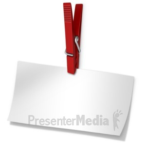 ID# 14091 - Clothespin Holding Blank Paper Note - Presentation Clipart