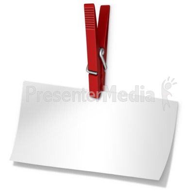 Clothespin Holding Blank Paper Note PowerPoint Clip Art