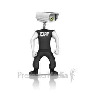 ID# 14149 - Guard With Security Camera Head - Presentation Clipart