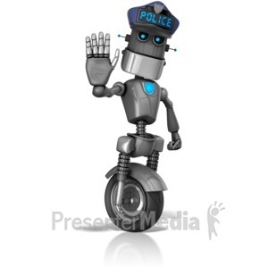 ID# 14160 - Robot Cop Stop Signal - Presentation Clipart