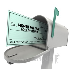 ID# 14181 - Mailbox With Check - Presentation Clipart