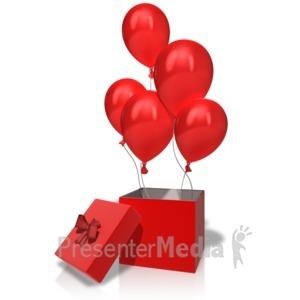 ID# 14187 - Box Balloons Rising - Presentation Clipart