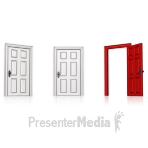 ID# 14206 - Choose Right Door Open - Presentation Clipart