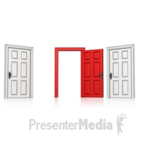 ID# 14207 - Choose Middle Door Open - Presentation Clipart