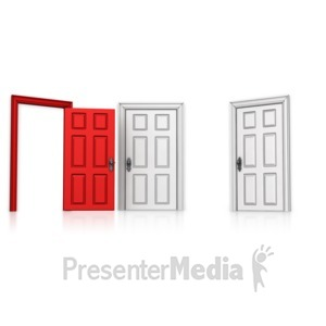 ID# 14208 - Choose Left Door Open - Presentation Clipart