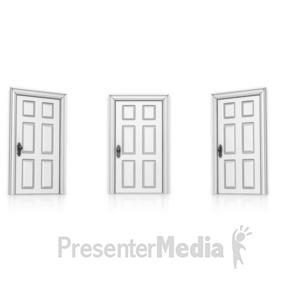 ID# 14209 - Three Doors Choose - Presentation Clipart