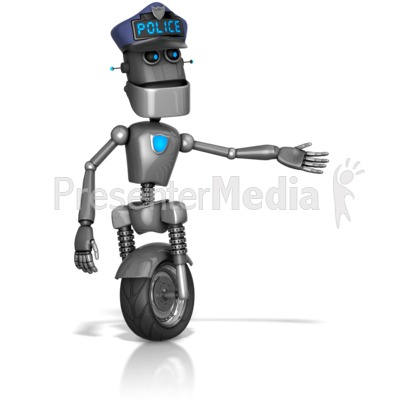 Robot Retro Cop Gesuture To The Side PowerPoint Clip Art