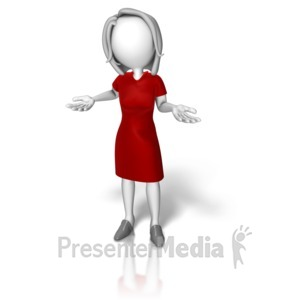 ID# 14230 - Business Woman Dress Shrugging - Presentation Clipart