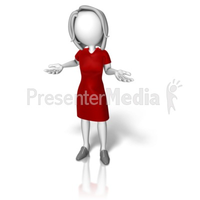 Business Woman Dress Shrugging PowerPoint Clip Art