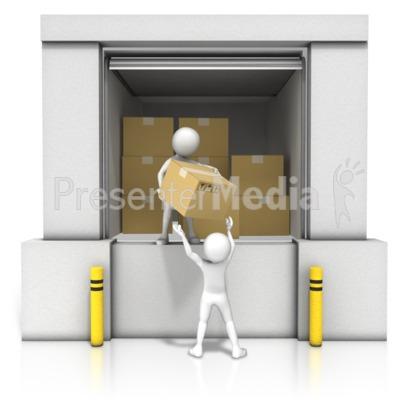 Unloading Dock Boxes PowerPoint Clip Art