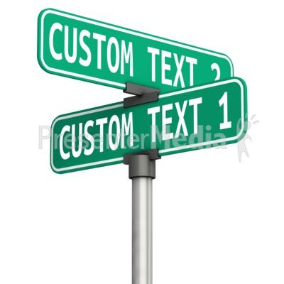Custom Corner Street Sign PowerPoint Clip Art