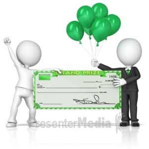 ID# 14253 - Holding Big Sweepstakes Check - Presentation Clipart