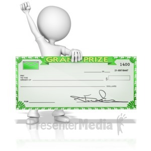 ID# 14254 - Figure Celebrating Grand Prize Check - Presentation Clipart