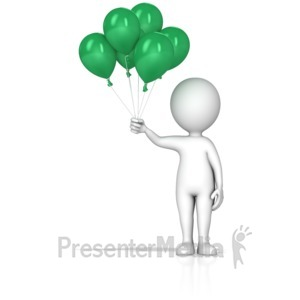 ID# 14255 - Figure Holding Balloons - Presentation Clipart