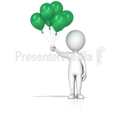 Figure Holding Balloons PowerPoint Clip Art