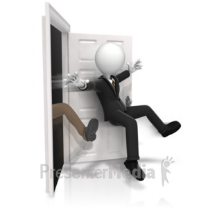 ID# 14276 - Getting Kicked Out The Door - Presentation Clipart