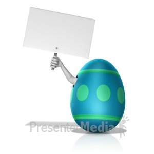 ID# 14278 - Arm Out Of Broken Egg Holding Sign - Presentation Clipart