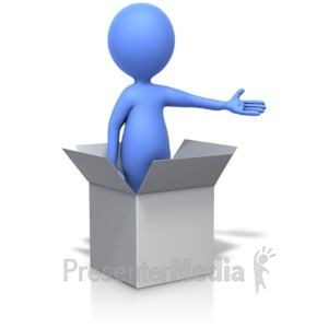 ID# 14282 - Standing In Box Gesturing With Arm - Presentation Clipart
