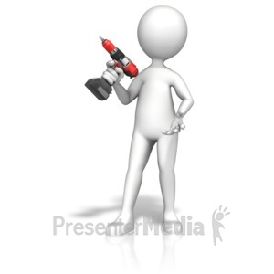 ID# 14311 - Figure Gripping Cordless Drill - Presentation Clipart