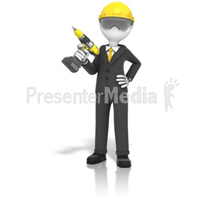 Construction Business Cordless Drill PowerPoint Clip Art