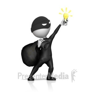 ID# 14320 - Thief Steal Idea Light Bulb - Presentation Clipart